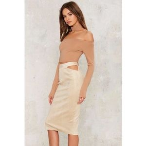 Nasty Gal Rare London Reptile Gold Midi Skirt M